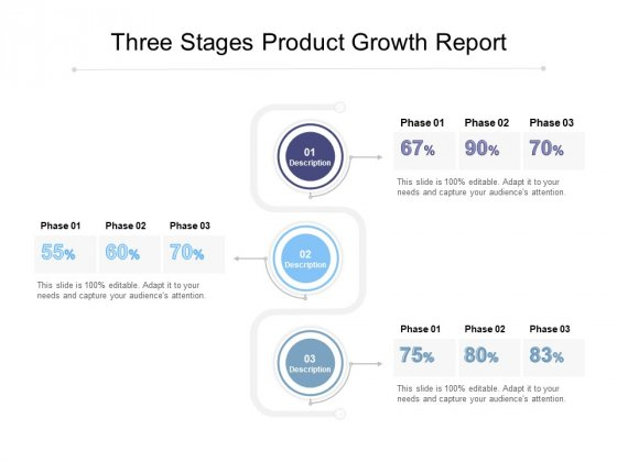 Three Stages Product Growth Report Ppt PowerPoint Presentation Outline Gridlines