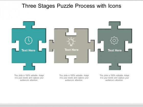 Three Stages Puzzle Process With Icons Ppt Powerpoint Presentation Infographics Example Topics