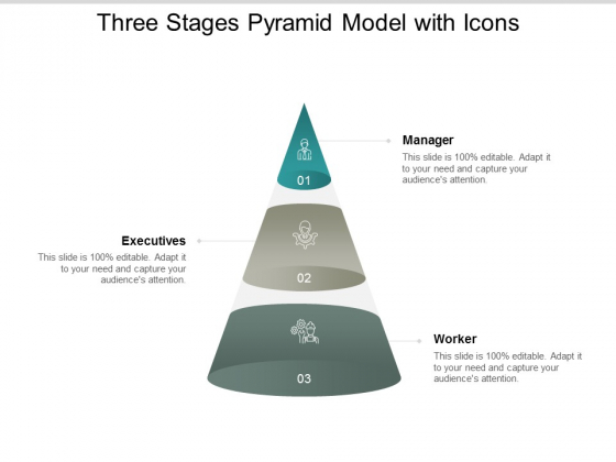 Three Stages Pyramid Model With Icons Ppt PowerPoint Presentation Styles Objects