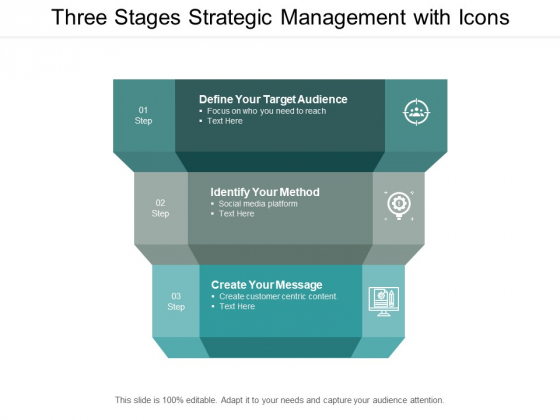 Three Stages Strategic Management With Icons Ppt PowerPoint Presentation Show Design Templates