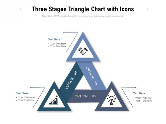 Three Stages Triangle Chart With Icons Ppt PowerPoint Presentation Infographics Templates