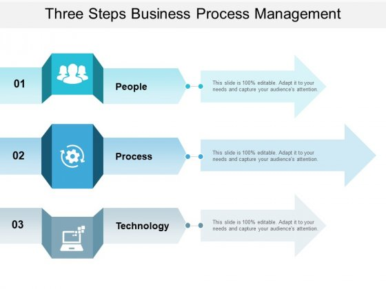 Three Steps Business Process Management Ppt PowerPoint Presentation Portfolio Grid
