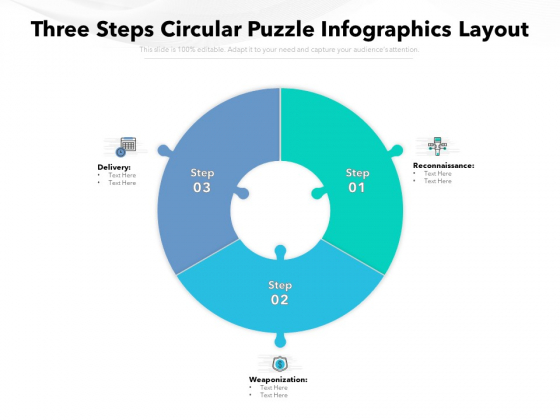 Three Steps Circular Puzzle Infographics Layout Ppt PowerPoint Presentation Model Visual Aids PDF