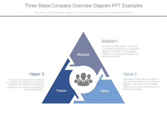 Three Steps Company Overview Diagram Ppt Examples