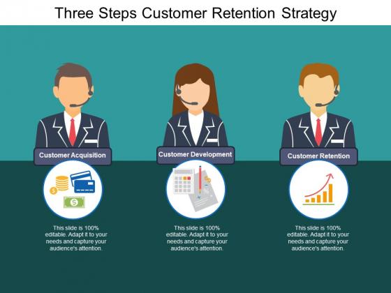 Three Steps Customer Retention Strategy Ppt PowerPoint Presentation Portfolio Slideshow