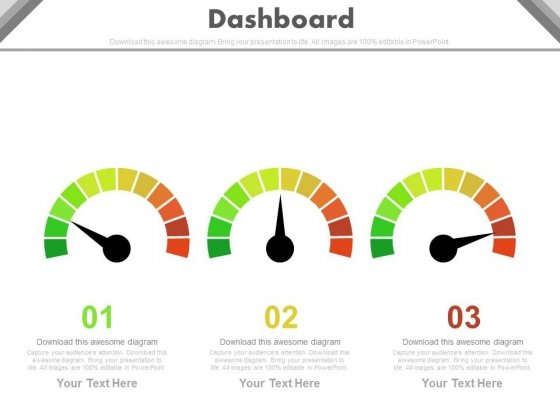 Three Steps Dashboard Charts For Financial Review Powerpoint Slides