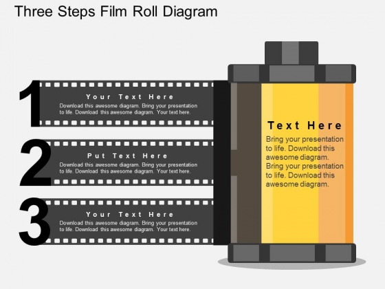 three steps film roll diagram powerpoint template - powerpoint, Presentation templates
