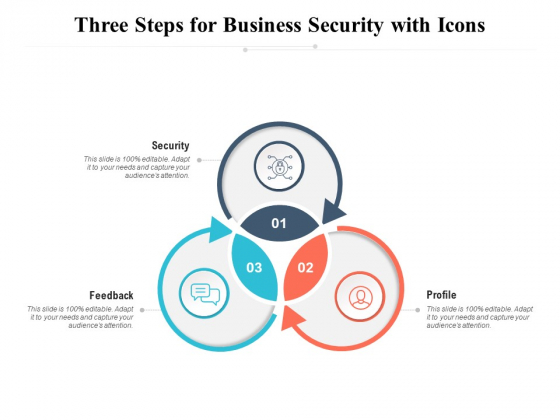 Three Steps For Business Security With Icons Ppt PowerPoint Presentation Infographic Template Samples PDF