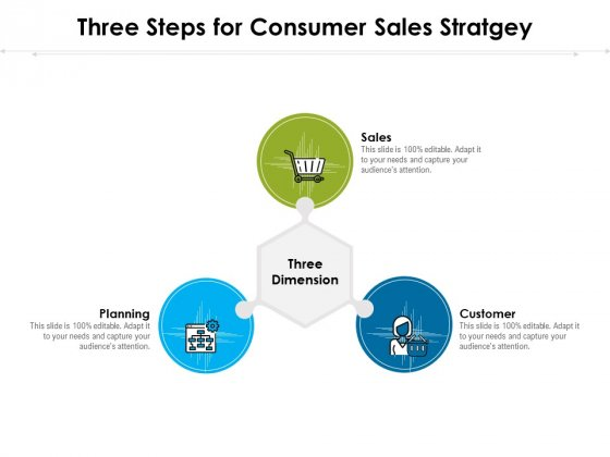 Three Steps For Consumer Sales Stratgey Ppt PowerPoint Presentation Outline Graphic Tips PDF