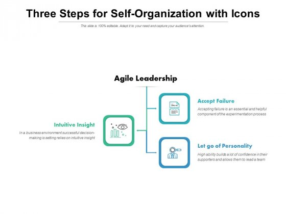 Three Steps For Self Organization With Icons Ppt PowerPoint Presentation Background Image