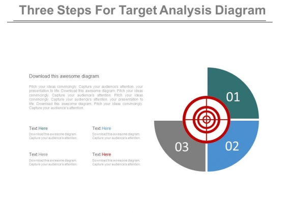 Three Steps For Target Analysis Diagram Powerpoint Slides