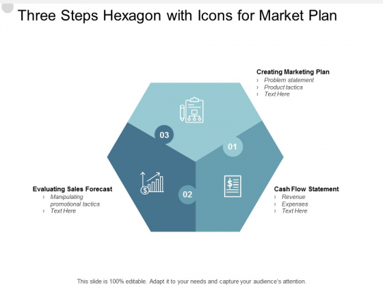 Three Steps Hexagon With Icons For Market Plan Ppt PowerPoint Presentation Show Outline