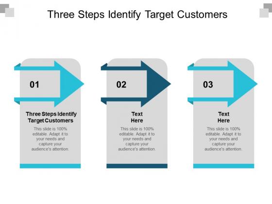 Three Steps Identify Target Customers Ppt PowerPoint Presentation Portfolio Display Cpb