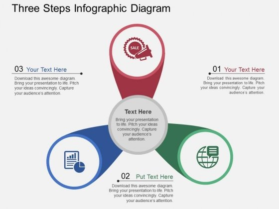 Three Steps Infographic Diagram Powerpoint Template