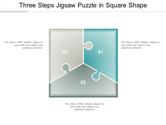 Three Steps Jigsaw Puzzle In Square Shape Ppt Powerpoint Presentation Infographics Picture