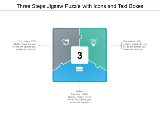 Three Steps Jigsaw Puzzle With Icons And Text Boxes Ppt Powerpoint Presentation Outline Example