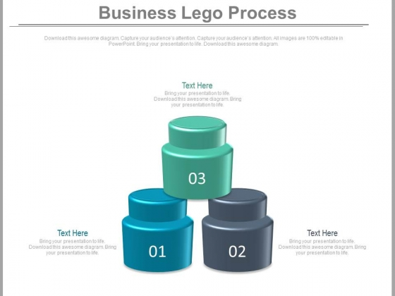 Three Steps Lego Process Diagram Powerpoint Slides