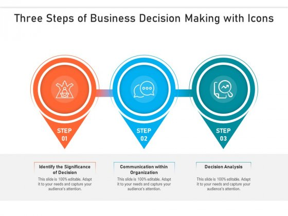 Three Steps Of Business Decision Making With Icons Ppt PowerPoint Presentation Gallery Information PDF