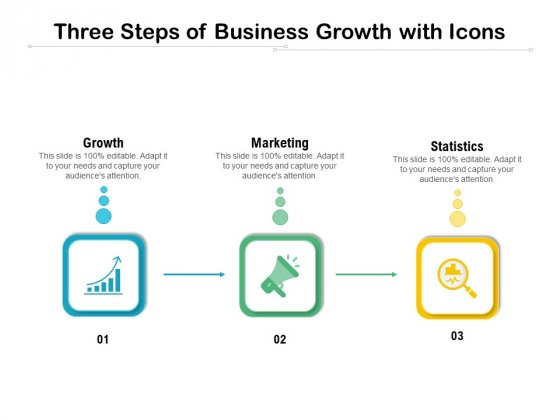 Three Steps Of Business Growth With Icons Ppt PowerPoint Presentation Summary Outline PDF