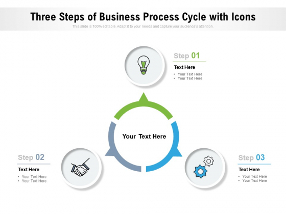 Three Steps Of Business Process Cycle With Icons Ppt PowerPoint Presentation Styles Infographic Template