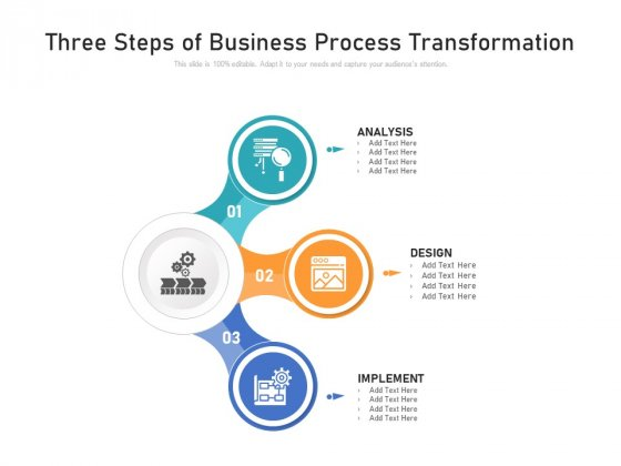 Three Steps Of Business Process Transformation Ppt PowerPoint Presentation File Shapes PDF