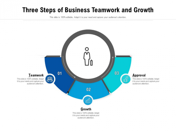 Three Steps Of Business Teamwork And Growth Ppt PowerPoint Presentation Gallery Diagrams PDF