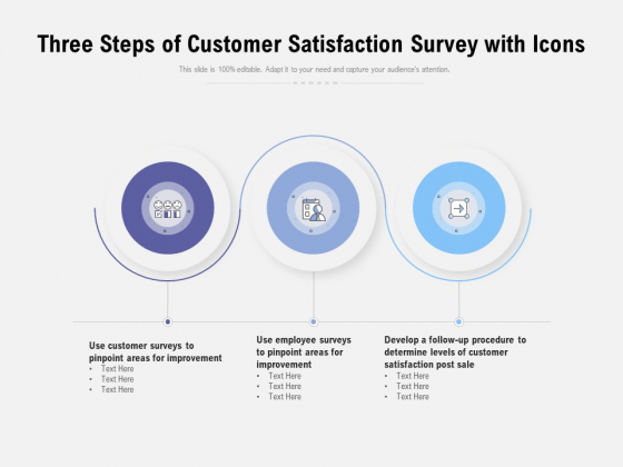 Three Steps Of Customer Satisfaction Survey With Icons Ppt PowerPoint Presentation Model Inspiration