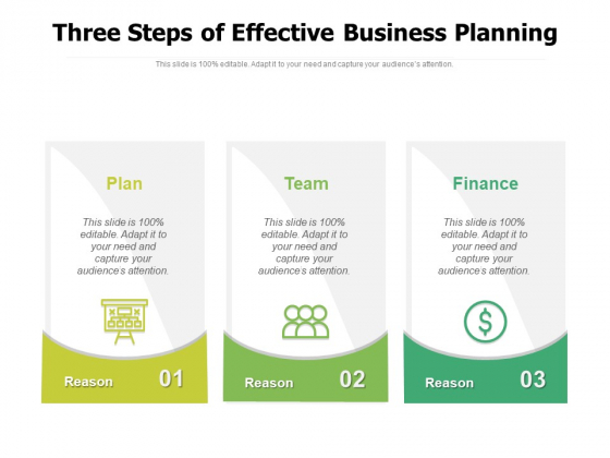 Three Steps Of Effective Business Planning Ppt PowerPoint Presentation File Deck PDF