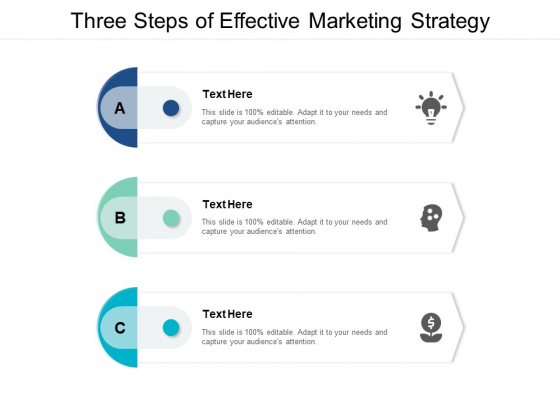 Three Steps Of Effective Marketing Strategy Ppt PowerPoint Presentation Summary File Formats