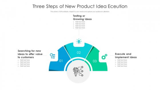 Three Steps Of New Product Idea Eceution Ppt Inspiration Samples PDF