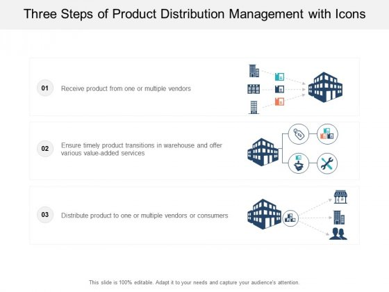 Three Steps Of Product Distribution Management With Icons Ppt PowerPoint Presentation Outline Infographics