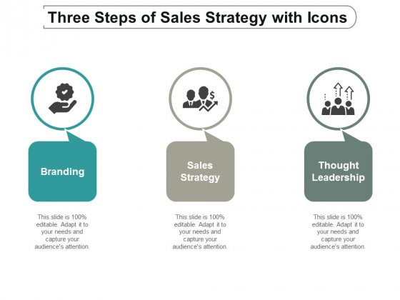three steps of sales strategy with icons ppt powerpoint presentation outline skills