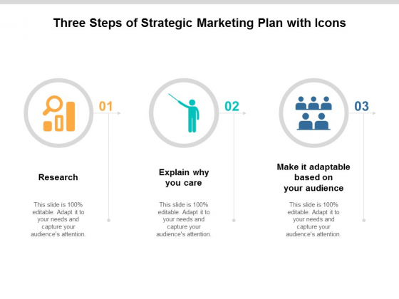 three steps of strategic marketing plan with icons ppt powerpoint presentation outline infographic template