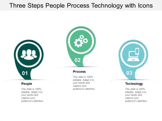 Three Steps People Process Technology With Icons Ppt PowerPoint Presentation Slides Elements