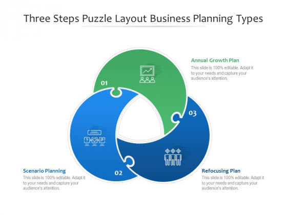 Three Steps Puzzle Layout Business Planning Types Ppt PowerPoint Presentation File Background Images PDF