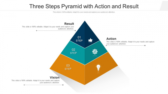 Three Steps Pyramid With Action And Result Ppt PowerPoint Presentation File Graphic Images PDF