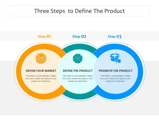 Three Steps To Define The Product Ppt PowerPoint Presentation Icon Background Images PDF