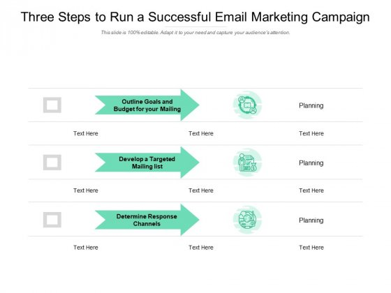 Three Steps To Run A Successful Email Marketing Campaign Ppt PowerPoint Presentation Model Portfolio
