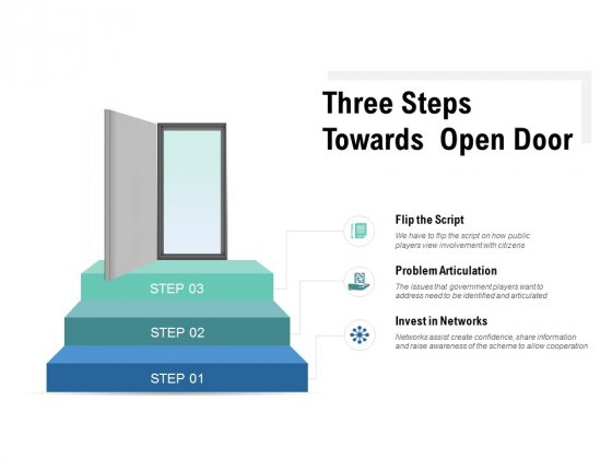 Three Steps Towards Open Door Ppt PowerPoint Presentation Portfolio Introduction
