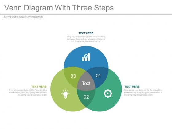 Three Steps Venn Diagram With Icons Powerpoint Slides