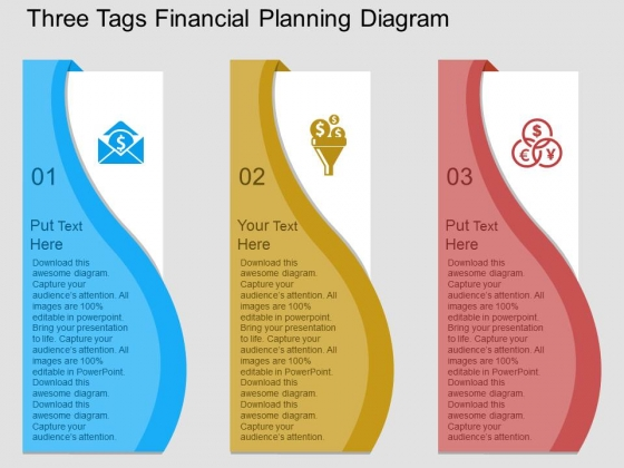 Three Tags Financial Planning Diagram Powerpoint Template