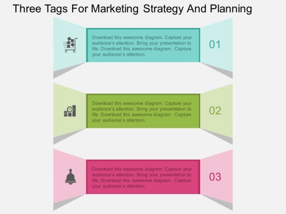Three Tags For Marketing Strategy And Planning Powerpoint Template