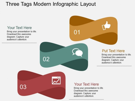 Three Tags Modern Infographic Layout Powerpoint Templates