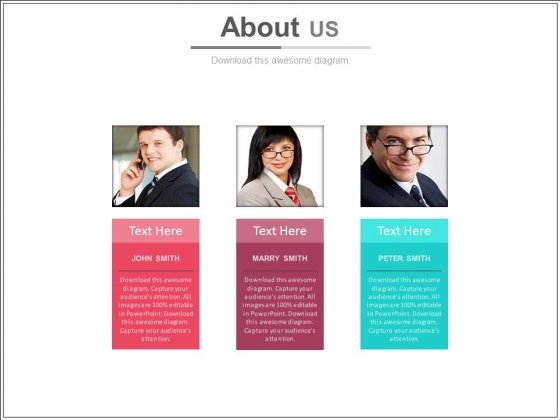 Three Tags With Employees Pictures Powerpoint Slides