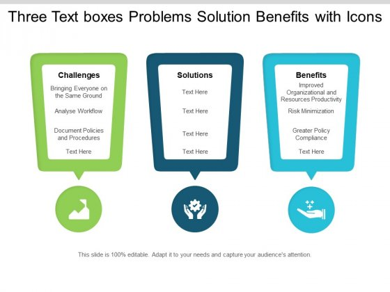 Three Text Boxes Problems Solution Benefits With Icons Ppt PowerPoint Presentation Inspiration Deck