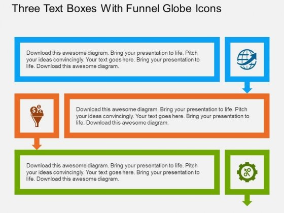 Three Text Boxes With Funnel Globe Icons Powerpoint Template