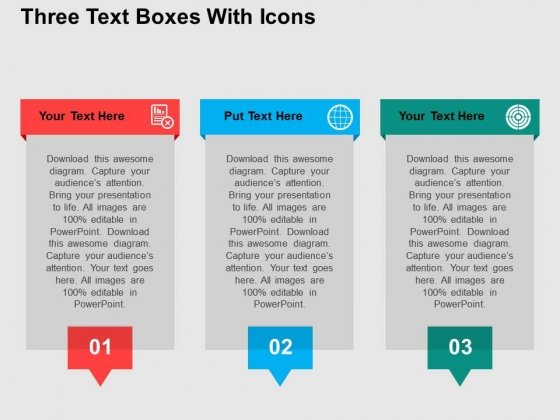 Three text boxes with icons powerpoint templates powerpoint templates toneelgroepblik Choice Image