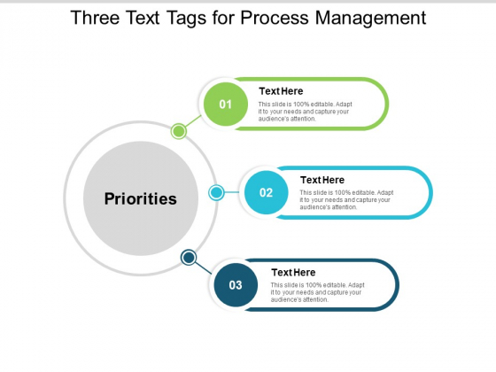 Three Text Tags For Process Management Ppt PowerPoint Presentation Portfolio Background Designs