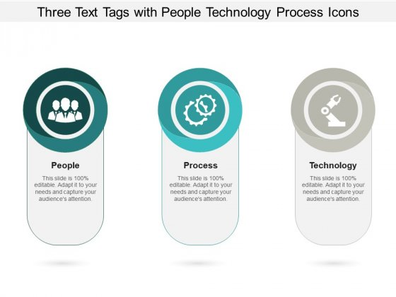 Three Text Tags With People Technology Process Icons Ppt PowerPoint Presentation Professional Icon