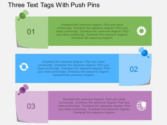 Three Text Tags With Push Pins Powerpoint Template